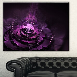 Designart 'Dark Pink Fractal Flower' Abstract Digital Art Canvas Print