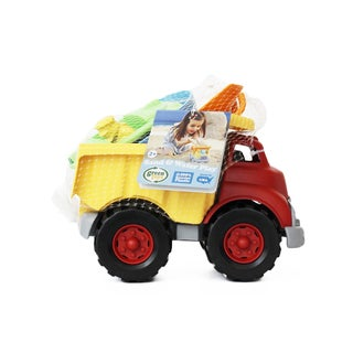 Green Toys Sand and Water Play Dump Truck with Boat and Sand Tools