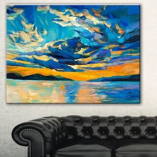 Designart 'Orange Sunset with Blue Sky' Modern Painting Canvas Print