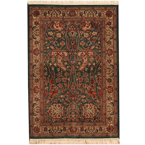 Handmade One-of-a-Kind Tabriz Wool and Silk Rug (India) - 4'1 x 6'