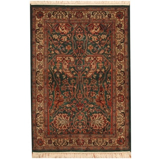 Herat Oriental Indo Hand-knotted Tabriz Wool and Silk Rug (4'1 x 6')