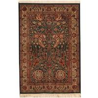Handmade Herat Oriental Indo Tabriz Wool and Silk Rug (India) - 4'1 x 6'