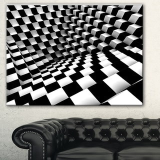 Designart 'Optical Black and White Pattern' Abstract Canvas Art Print
