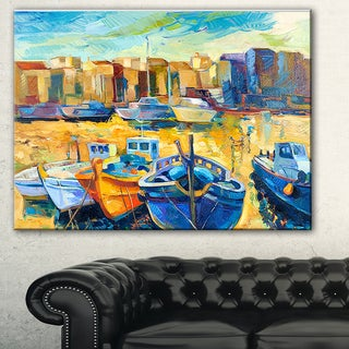 Designart 'Wharf and Boats' Seascape Painting Canvas Print