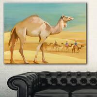 Designart 'Camel Walking in Desert' Watercolor Animal Canvas Print