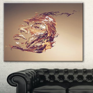 Designart 'Chocolate Portrait of Woman' Abstract Portrait Canvas Print - Brown