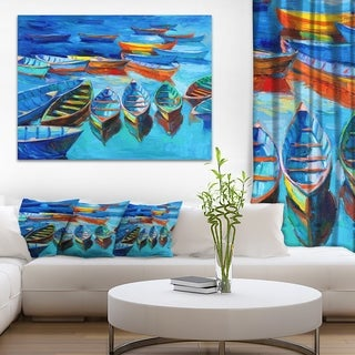 Designart 'Boats in Blue Sea' Seascape Painting Canvas Print - multi