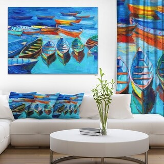 Designart 'Boats in Blue Sea' Seascape Painting Canvas Print