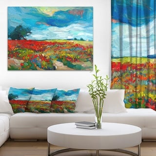 Designart 'Colorful Flower Fields' Landscape Painting Canvas Print
