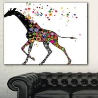 Designart 'Cheerful Giraffe Running' Animal Digital Art Canvas Print