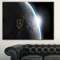 Designart 'Earth View with Day and Night Effect' Digital Art Canvas Print - Blue
