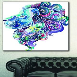 Designart 'Blue Lion Abstract Art' Animal Digital Art Canvas Print
