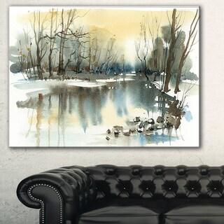 Designart 'River in Winter' Landscape Painting Canvas Art Print