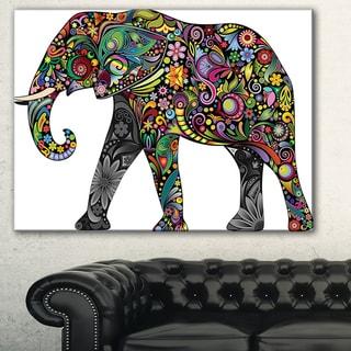 Designart 'Floral Cheerful Elephant' Animal Digital Art Canvas Print - multi