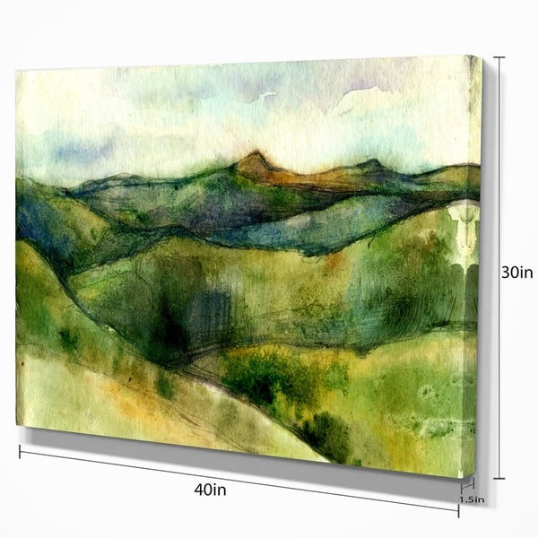 Designart Green Mountains Watercolor Landscape Canvas Print Green Overstock 11622376