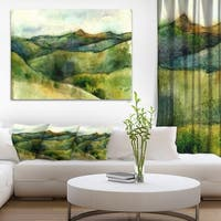 Designart 'Green Mountains Watercolor' Landscape Painting Canvas Print - Green