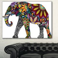 Designart 'Yellow Cheerful Elephant' Animal Digital Art Canvas Print
