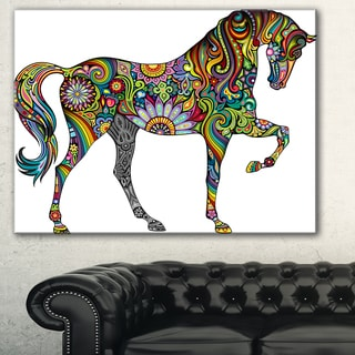 Designart 'Cheerful Horse' Animal Digital Art Canvas Print - Multi-color