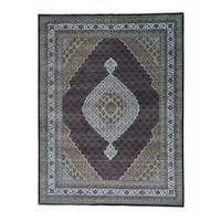 "Tabriz Mahi Black Wool and Silk Hand-knotted Oriental Rug - 9'2"" x 12'0"""