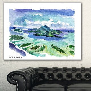 Designart 'Bora Bora Vector Illustration' Cityscape Painting Canvas Print - Blue