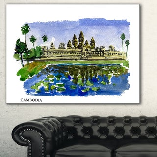 Designart 'Cambodia Vector Illustration' Cityscape Painting Canvas Print - Green