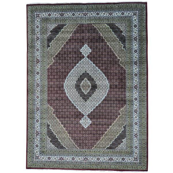 "Tabriz Mahi Wool and Silk Hand-knotted Oriental Rug (10'1 x 14') - 10'1"" x 14'0"""