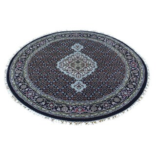 Round Wool and Silk Black Tabriz Mahi Hand-knotted Rug (4' x 4')