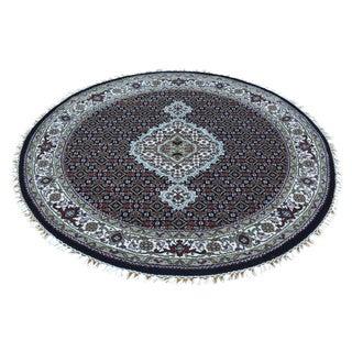 Black Tabriz Mahi Wool and Silk Hand-knotted Rug (4' Round)