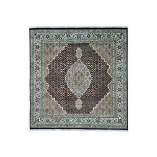 Square Tabriz Mahi All Over Design Wool and Silk Rug (6'4 x 6'7)