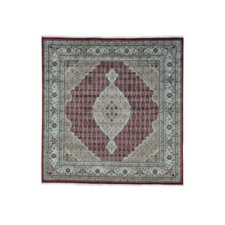 All Over Design Tabriz Mahi Square Wool and Silk Rug (6'5 x 6'7)