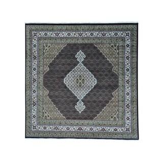 "Tabriz Mahi Wool and Silk Square All Over Design Rug (9' x 9'2) - 9'0"" x 9'2"""