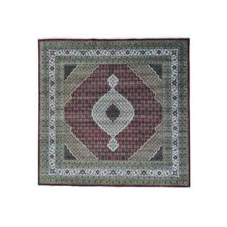 Square Tabriz Mahi Wool and Silk Hand-knotted Rug (9'10 x 10'1)