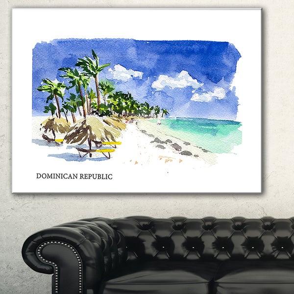 Designart 'Dominican Republic Vector Illustration' Cityscape Painting  Canvas Print - Blue