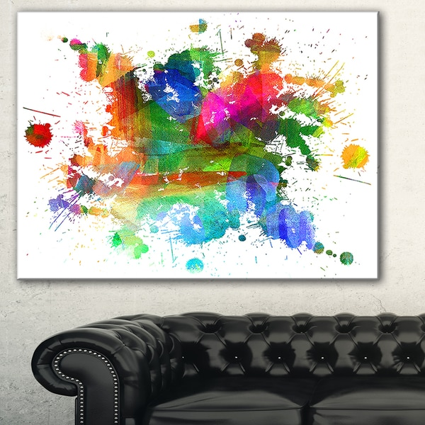 shop designart splashes of colors abstract oil painting canvas