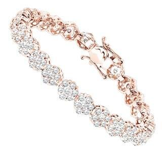 Luxurman 14k Gold 8 1/ 4ct TDW Diamond Cluster Tennis Bracelet (G-H, SI1-SI2)