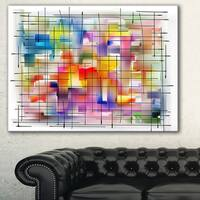 Designart 'Colorful Stain Design with Grid' Abstract Painting Canvas Print