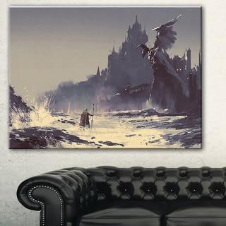 Designart 'Dark Fantasy Castle' Landscape Painting Canvas Print