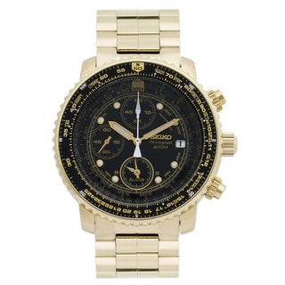 Seiko Men's Goldtone Stainless Steel SNA414P1 Flight Computer Chronograph Quartz Watch