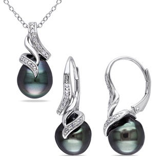 Miadora Sterling Silver Tahitian Pearl and 1/10ct TDW Diamond Swirl Necklace and Earrings Jewelry Box (G-H, I2-I3) (9-9.5 mm)