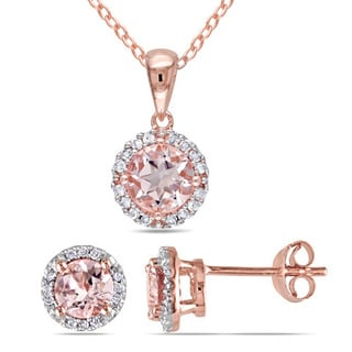 Miadora Rose Plated Sterling Silver Morganite and 1/6ct TDW Diamond Halo Necklace and Earrings Jewelry Box (H-I, I2-I3)