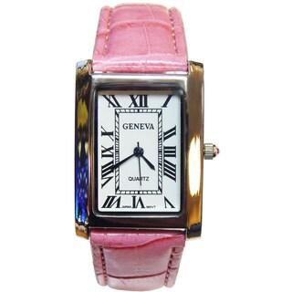 Vecceli Women's Geneva Rectangle Dial Pink Watch