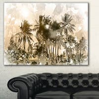 Designart 'Dark Palms at Sunset' Landscape Canvas Art Print - Multi-color