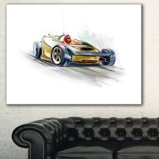 Designart 'Yellow Formula One Car' Digital Art Car Canvas Print