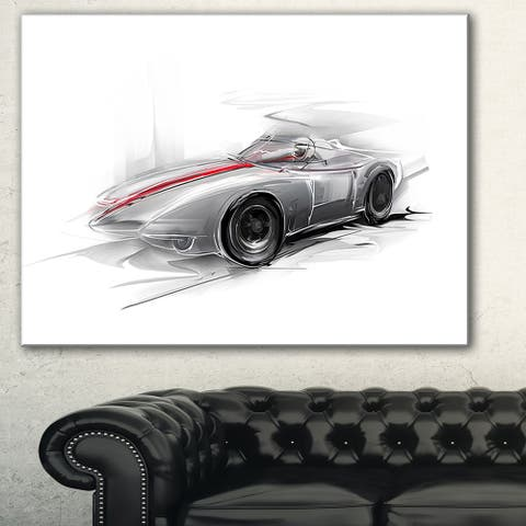Designart 'Silver Formula One Car' Digital Art Car Canvas Print