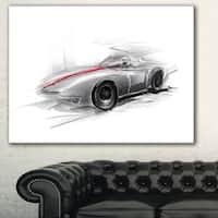 Designart 'Silver Formula One Car' Digital Art Car Canvas Print
