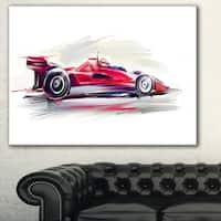 Designart 'Red Formula One Car' Digital Art Car Canvas Print