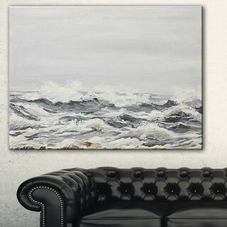 Designart 'Grey Sea Waves' Seascape Painting Canvas Print