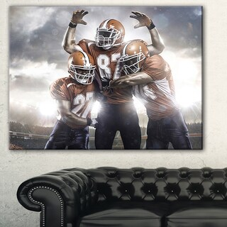 Designart 'American Footballer in Action' Sports Digital Art Canvas Print