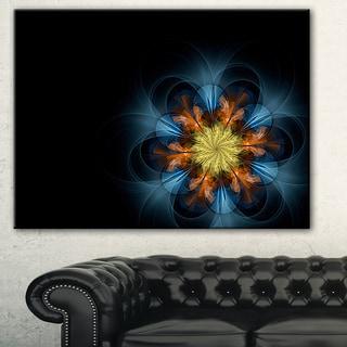 Designart 'Symmetrical Blue Orange Fractal Flower' Digital Art Canvas Print