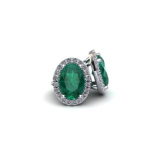 14k White Gold 1 3/4ct Oval Shape Emerald and Halo Diamond Stud Earrings